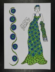 Roz Jennings Fashion Drawing Original Art Work Illustrator Laura Ashley 70s (L3
