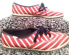 Keds KATE SPADE Womens Canvas Sneakers Red & White Striped Shoes New York Sz.8.5