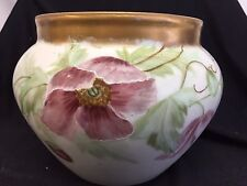 OLD LARGE LIMOGE? HAND PAINTED GILT RIM VASE SPIDER WEB AND FLOWERS HAND PAINTED