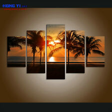 Large Framed Canvas print Beach Wall Art Deco Palm Tree Sunset Seascape Painting