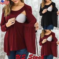 Women Pregnant Solid Long Sleeve Tops Maternity Nursing T-shirt Elastic Blouse