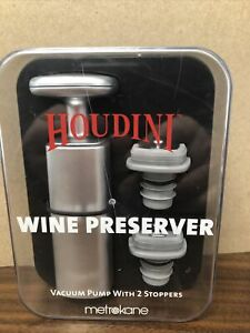 Houdini Wine Vacuum Preserver With Vacuum Pump, Two Stoppers And Storage Case