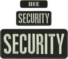 SECURITY EMBROIDERY PATCH 4X10 &2X5 & 1X4 HOOK ON BACK BLK/SILVER GRAY