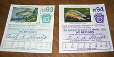 Pennsylvania Fishing Licenses (2) with Trout Stamps: 1993 & 1994
