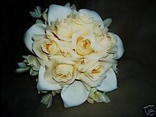 Calla Lily & Ivory Roses Silk  Wedding  Bridal Bouquet