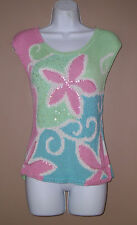 Womens Sigrid Olsen Size Medium Sleeveless Floral Sequined Spring Sweater Top