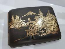MT Fuji Antique Japonais Komai Damascène Doré, Cigarette Étui 4 1/4 x 3 1/4