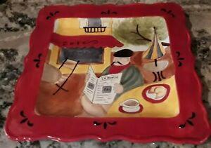 "Certified International Sidewalk Cafe 12. 5"" Square Tray Jennifer Brinley Red"