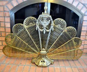 Vintage Art Deco Brass Fireplace Folding Screen Peacock Hearth Fire Fan