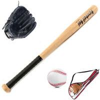 Kids Outdoor Professional 25 Inch Wood Baseball Bat & Softball Ball & Baseb X5G7