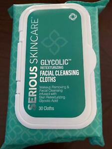 Serious Skin Care Glycolic Face Cleansing Cloths Wipes Facial Makeup Remover