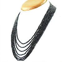 ATTRCATIVE 252.00 CTS NATURAL 7 LINE RICH BLACK SPINEL ROUND CUT BEADS NECKLACE