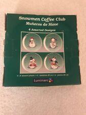 "Luminarc Snowmen Coffee Club Set Of 4 8"" Dessert Plates"