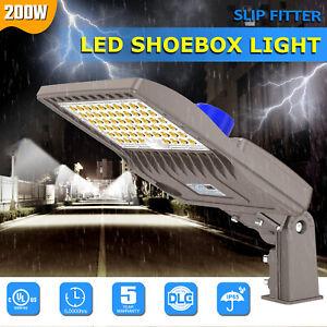 200W LED Shoebox Parking Lot Light Dusk to Dawn Area Street Pole Light Fixture