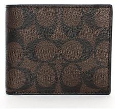 NWT Coach Men's F74993 Compact ID Signature Mahogany Brown PVC Wallet