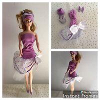 Tenue Vintage Robe + Bandeau + Chaussures Barbie ( Poupée Non Incluse ) Vêtement