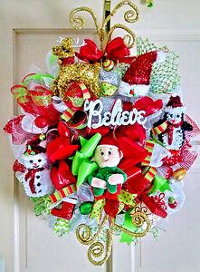 """Handmade Deco Mesh Elf Christmas Wreath 30"""" BELIEVE Glitter Ornament Door Decor"""