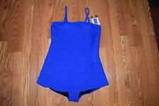 NWT Womens GOTTEX Blue Textured One Piece Swim Dress Swim Suit Sz 14