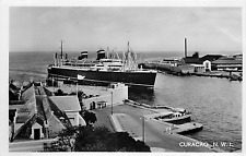 "CURACAO N.W.I. ""ENTRANCE TO HARBOR"" RPPC POSTCARD"