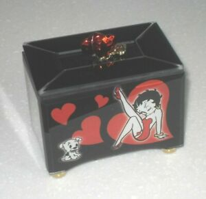 Collectable By Bradford Exchange Betty Boop Glass Musical Trinket Ring Box