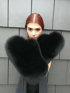 Black Fox Fur mittens.Wool lining