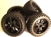 BS937-001/2 1/10 Scale RC Buggy Off Road Wheels and Tyres x 4 Black Oversized
