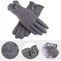 Fashion Women Winter Warm Thick Fleece Lined Thermal Button Touch Screen Gloves