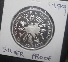 Australia 1989 Commonwealth Games  50 cent Ex masterpieces in  silver Proof