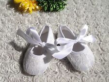 Baby Shoes White Lace Baby Baptism Christening Shoes Size 0-3 months (10cm) New