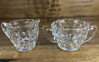 Vintage Clear Glass Depression Cream And Sugar