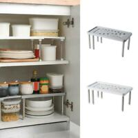 Stainless steel Storage Shelf Holder Basket Kitchen Organize Cabinet Rack H1G2