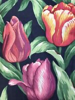 Bold Tulip Print Fabric Cotton 3 Yards Blue Pink Green Pillows Home Decor
