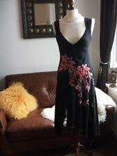 Beautiful Karen Millen black 100% silk embroidered frill ruffle cocktail dress12