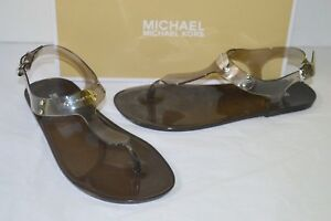 New $59 Michael Kors MK Plate Jelly Smoke Grey Thong Sandal Silver Charm
