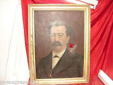Superbe portrait homme 19 ème, huile sur toile, 1877, Oswald Maru