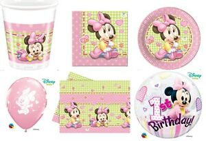 Baby Minnie Mouse 1st Birthday Party Tableware Decorations Girls Baby Shower