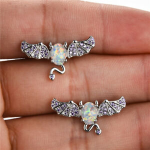 Women Ladies White Simulated Opal Silver Filled Ear Stud Earrings Bride Wedding