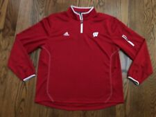 Wisconsin Badgers adidas CLIMALITE Partial Zip Red Pullover Jacket Men's XL