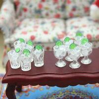 AU_ KE_ AU_ KF_ Miniature Goblet Wine Cup with Ice Cube Pretend Play Toy Dollhou