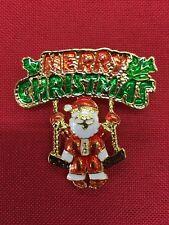 "Merry Christmas Santa on swing Brooch pin 2""x1 1/2"" Gift idea gold tone #14"