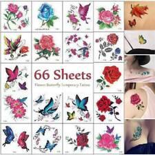 66 Sheet 3D Waterproof Flower Butterfly Tatoo Temporary Tattoo Stickers Body Art