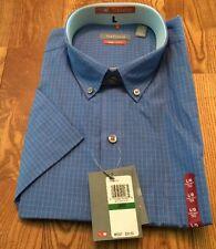 NWT Mens VAN HEUSEN Blue Crisp S/S Button Up Dress Shirt Size X-Large XL $50