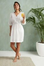 NEXT White Cotton Summer Broderie Anglaise Dress size 12 Beach Boho RRP£48