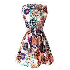 Robe imprimee sans manches en O-col pour femme - Motif:Tournesol Asiatique S4D3
