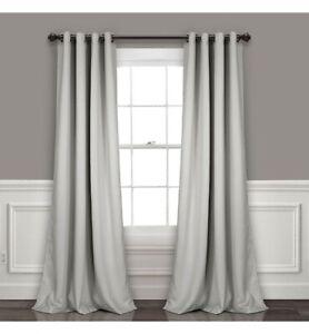 Lush Decor Insulated Grommet Blackout Curtain Panels Light Gray Pair Set 52x84