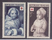 France B264-65 MNH OG 1951 Child at Prayer & 18th Century Child Paintings Set