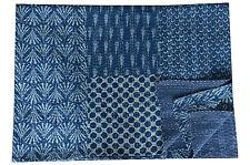 Hand Block Print Kantha Quilt, Patchwork Cotton Bedspread,Twin Size Indigo Blue