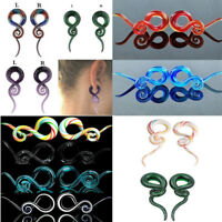 Pair Ear Tunnels Spiral Hand Made Pyrex Glass Taper Ear Plugs Expander Stretcher