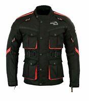 Uomo Giacca Moto Inverno Impermeabile Tessuto Cordura CE Rimovibile Protezioni
