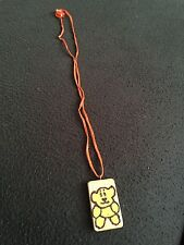 Teddy Bear Childens wooden pendent - Pyrograved and Painted (1 x 1.5 inches)